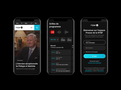 Optimised experience for RTBF Pro. form ux ui webdesign detail mobile