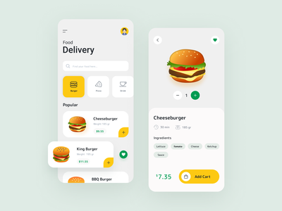 Food Delivery App mobile app mobile design application art hamburger figma concept design art design food app ux ui project mobile app design mobile minimal clean app design app