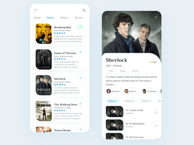 Online TV Series and Movie App clean cinema search mobile ui mobile app watch ui ux ui design ux design uidesign tv series tv shows series movie app concept ui first art design