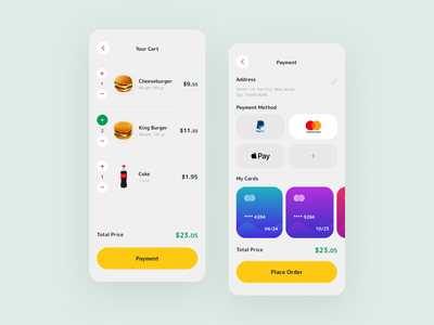 Detail Pages - Food Delivery App payment minimal figma mobile app design food app ui design mobile app application food clean burger app design first ui app concept design