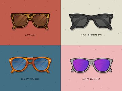 City Sunnies sunglasses milan los angeles san diego new york ray bans oakleys persol super sunglasses sunnies glasses illustration