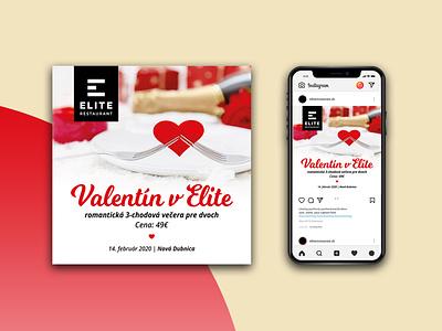 Instagram post - ELITE restaurant creative flat design valentine day valentine post instagram post instagram