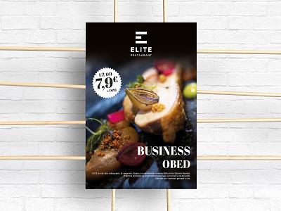 Poster - ELITE Restaurant typography ui ux creative flat lunch business food design restaurant poster