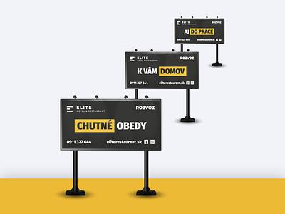 3 Billboards - ELITE Hotel & Restaurant ui ux clever flat three creative design billboard design billboard