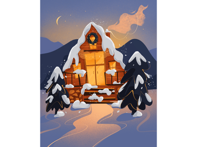 Winter house winter landscape winter illustration landscape illustration landscape illustration art illustration