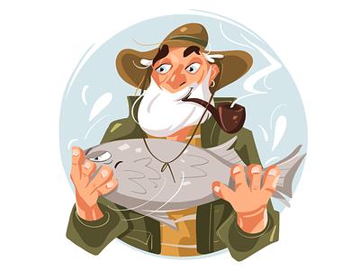 Fisherman with his big fish fishing fish fisherman character character illustration character design characterdesign illustration art illustration