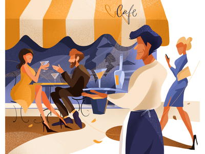 Yellow cafe with people cityscape blue yellow restaurants illustration restaurant character design people illustration cafe illustration cafe illustration art illustration