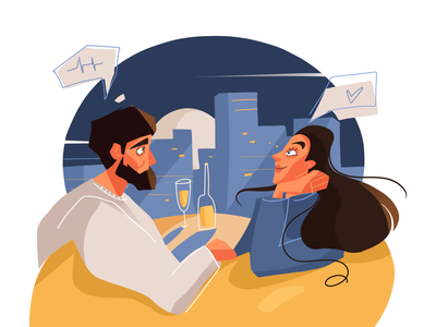 Romantic evening lovers date romantic evening couple of people people illustration flat people cityscape blue character illustration character characterdesign character design illustration art illustration