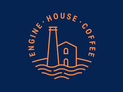 Engine House Coffee logotype logoart logodesign design creative coffee bean cornish cornwall coffee shop lineart logo coffee