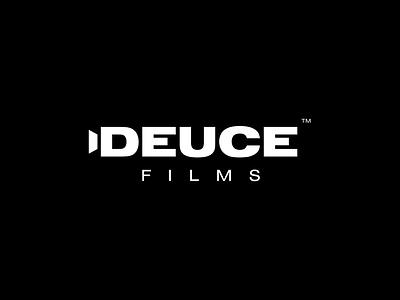 Deuce Films Logo logomark wordmark typography black and white minimal logo modern logo deuce camera logo movie logo film logo