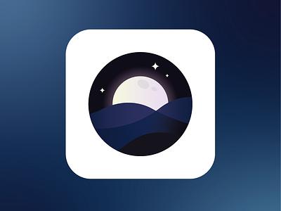 SeaSleeper App Icon logo design peterborough find logo designer app icon designer iconography circle app design logo design ocean stars moon night sky waves sea gradient logo illustrator icon design app icon