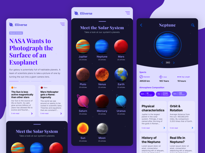 Elliverse - Newsfeed App solar system nasa education newsfeed clean mobile app app space
