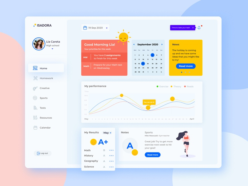 Isadora - Student Dashboard prototype figma class creative students ui ux learning learn educational education