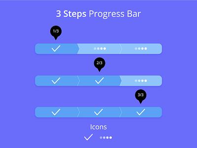 3 steps progress bar progress bar