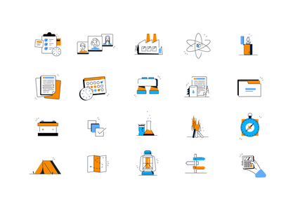 Iconography for Encamp 2.0 document ehs trail guide trail camping iconset iconography icons
