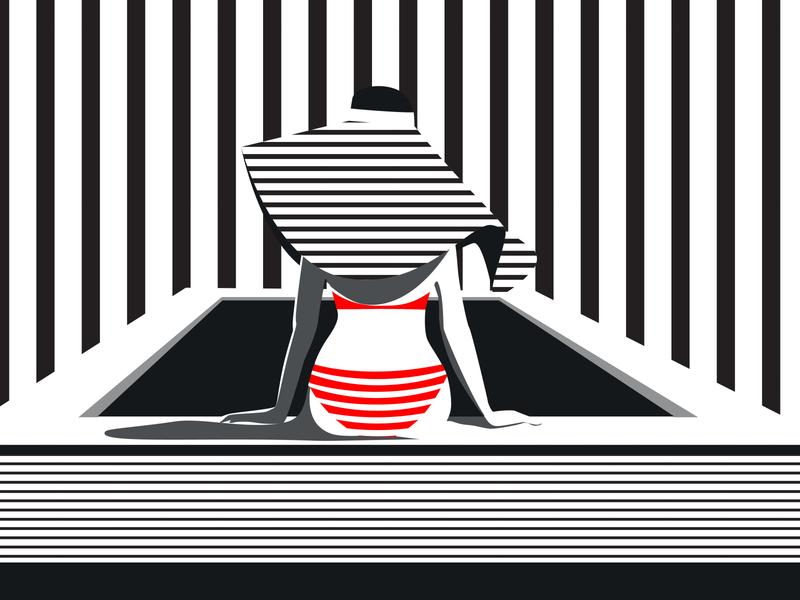 B&W DAYS lines people black white black woman red beach illustrations beach illustrations blackandwhite minimal landscape illustrator easy ilustrations web vector illustration flat digital illustration design