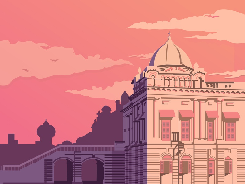 Pink ahsan monjil likely gorgious sunset light shade illustrations heritage buildings bangladesh heritage good illustrations building illustration pastle color chart pink clouds design easy ilustrations illustrator landscape vector illustration flat digital illustration