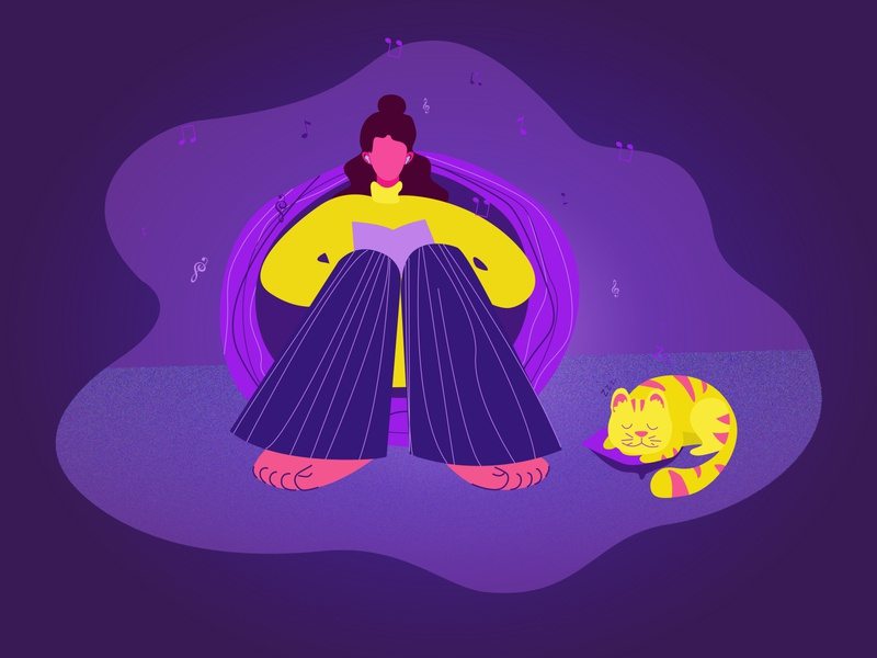 RELAXATION puple illustration home time