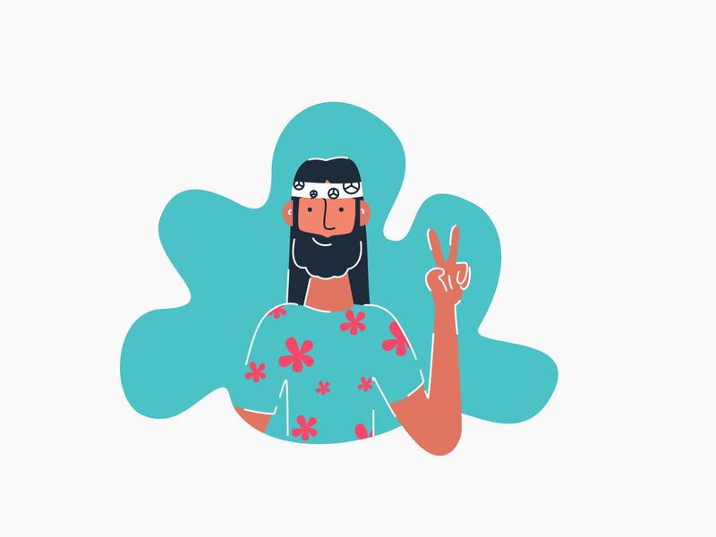hippi peace hippi character drawing ai illustrations minimal illustrator flat design web illustration vector easy ilustrations digital illustration