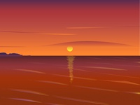 Sunset at the Sea relax morning travel evening summer wave sky reflection ambient nature illustraion sunset sea sunrise clouds orange red sun