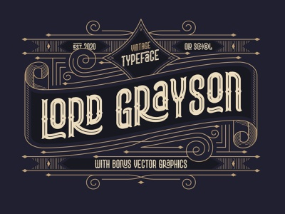 Lord Grayson font and template vector decorative style vintage type typeface lettering design alphabet font