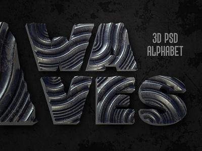 Waves PSD Alphabet 3d art 3d render letter decorative style design typography typeface lettering alphabet font