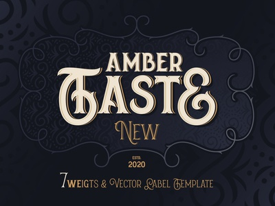 Amber Taste New. Font and Template update vector type style design vintage decorative template label typography typeface lettering alphabet font