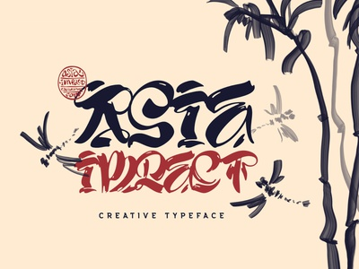 Asia Impact font east china japan art traditional calligraphy asian script decorative type typeface lettering alphabet font