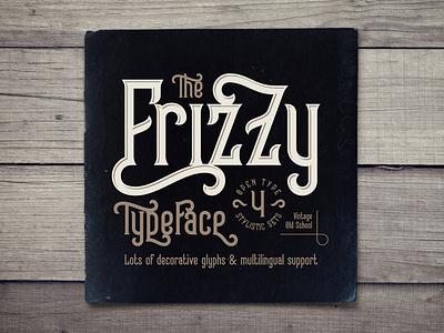 Frizzy vintage font oldschool classic vintage decorative style typography type typeface lettering design alphabet font