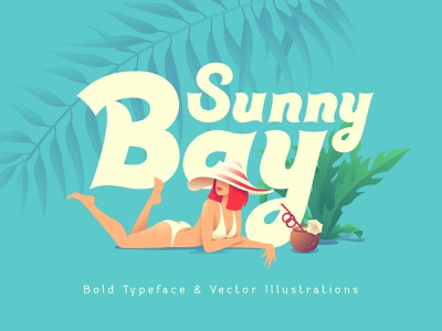 Sunny Bay font and graphics girl pinup girl pinup illustration vector typography typeface type lettering design alphabet font