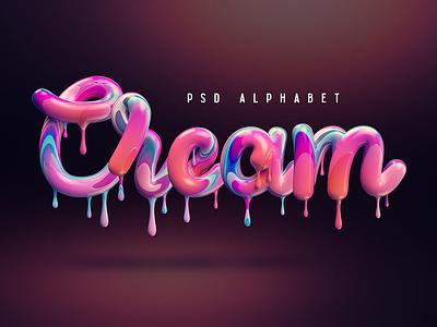 Cream Alphabet melt food lettering sweet candy isolated dessert letter abc illustration liquid type cream set text typography symbol design font alphabet