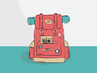 Backpack pen tool vector hiking knapsack illustration adventure backpack