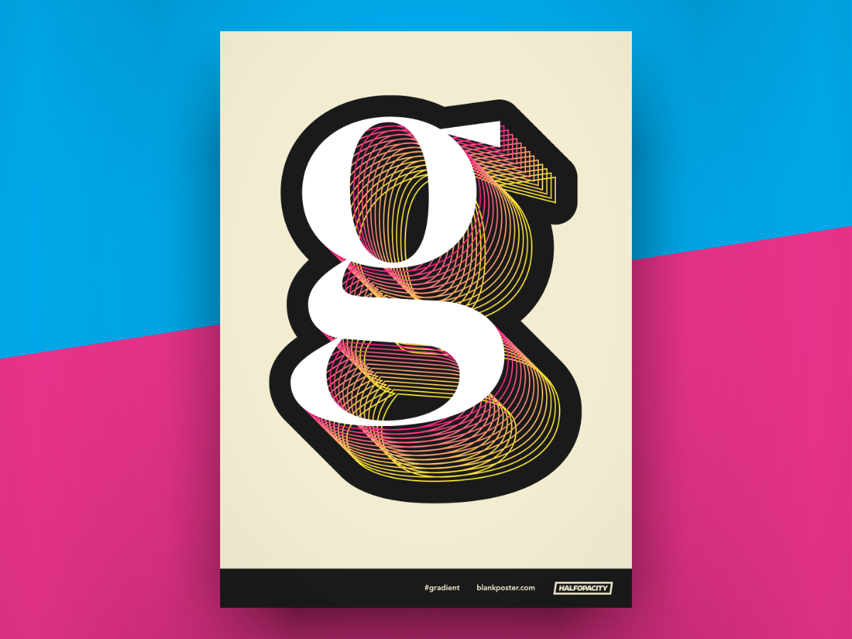 Poster - Gradient 3d type poster blankposter blankposter.com