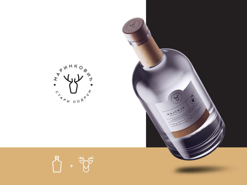 Stari Podrum Logo rakija minimalistic identity label bottle label creative pack packaging design branding brand deer illustration alcohol logotype logo