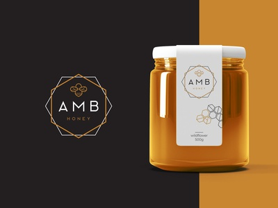AMB Honey logo & packaging