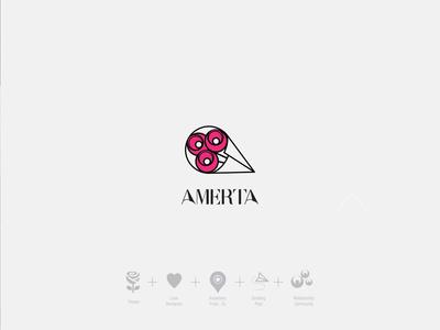 AMERTA logo concepts typography illustration concept flower branding design creativity pooya minimal logo design logo