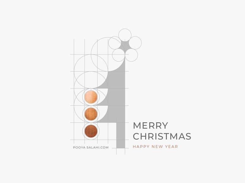 Pooya Greeting2020 Wht 191217 minimalistic minimal creative design adobe illustrator grid dots copper logo graphic greeting 2020 happy holidays happy new year merry christmas merry xmas