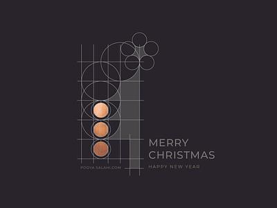 Pooya Greeting 2020 Blk 191217B minimalistic minimal merry xmas merry christmas logo illustrator happy holidays happy new year grid greeting graphic dots design creative copper adobe 2020