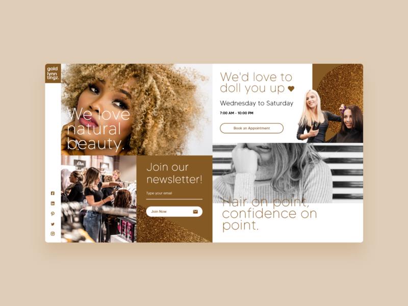 Gold Lynn Tingz - UI Concept 18 hair stylist hair fashion hairdresser web design website interface ui ux user interface interface designer design ui design interface design