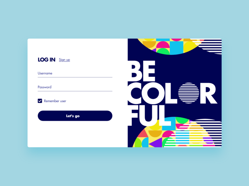 Colorful - UI Concept 06 log in screen log in colors colorful vector illustration interface user interface ux ui interface designer design ui design interface design