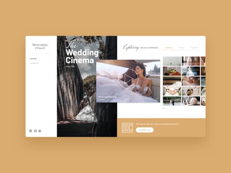 Minimalistic Visuals - UI Concept 07 wedding photography audiovisual visual gold yellow interface user interface ux ui interface designer ui design design interface design