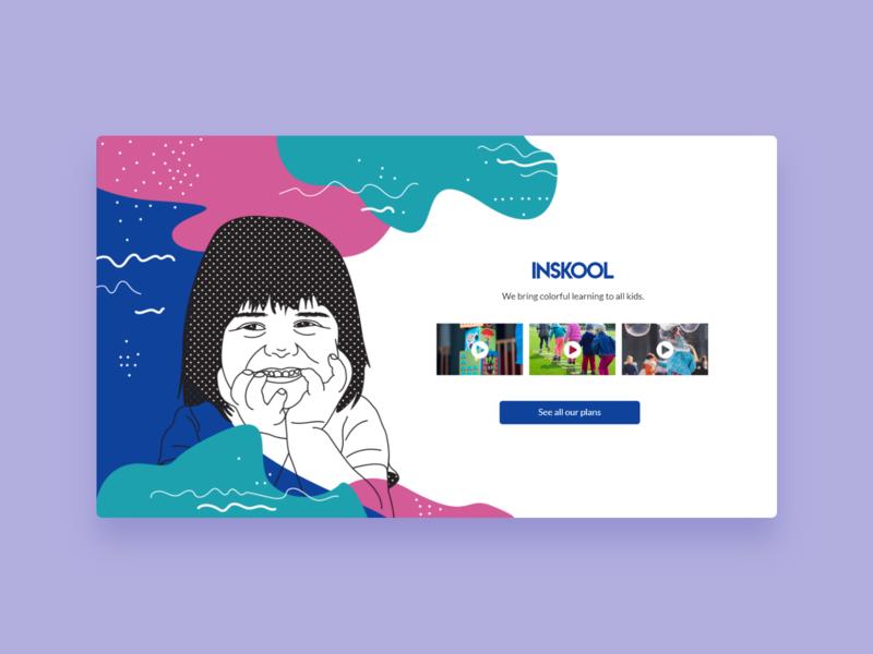 Inskool - UI Concept 10 landing page web design kid kids children colorful lineart editorial illustration kiddo kiddy education interface user interface interface designer design ui design interface design