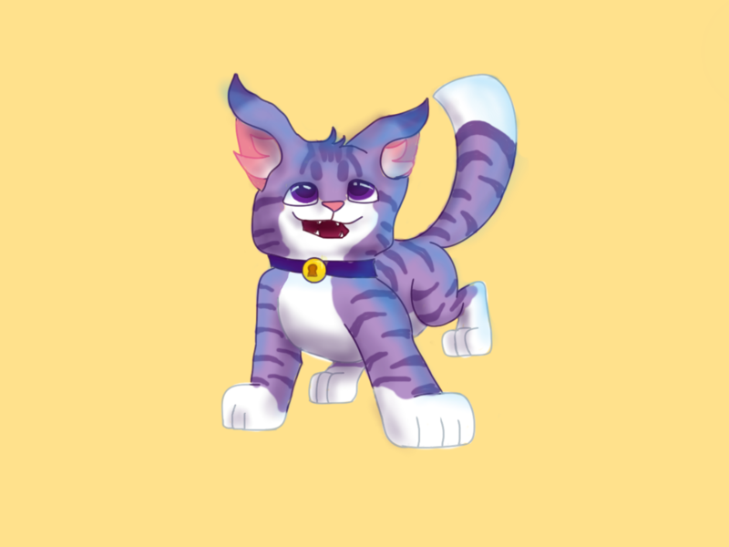 purple cat cat illustration