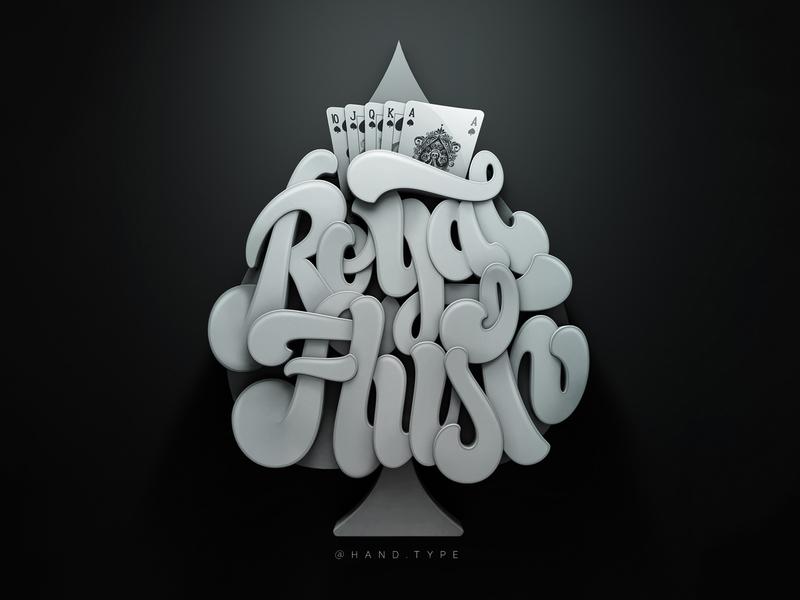 Royal Flush graphic design 3d art typography