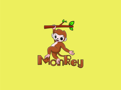 monkey monkey cute animal monkey logo vector illustrator minimal illustration animation design logo design logo branding icon