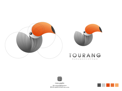 tourang logo toucan ux vector ui illustration logotype design logo logo design branding icon