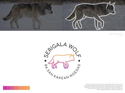 Serigala Wolf Logo animals line grid color wolf elegant modern minimalist minimal simple vector illustration lettering identity brand app logo design branding