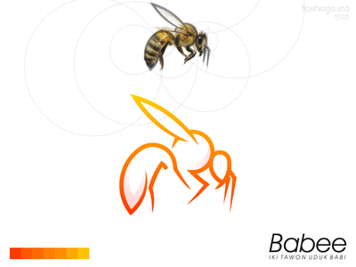 Babee Logo elegant grid animals bee modern clean minimalist minimal simple vector illustration lettering identity brand app logo design branding