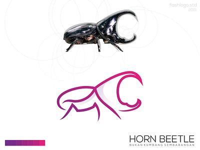 Horn Beetle Logo animals beetle colorful modern clean minimalist minimal simple vector illustration lettering identity logo brand app design branding
