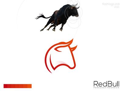 Red Bull Logo color bull animals grid modern minimalist minimal simple clean vector illustration lettering identity brand app logo design branding